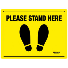 Covid-19 Rectangle Sticker - Please stand here  400mm x 300mm