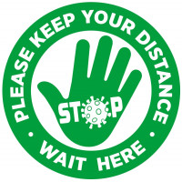 Covid-19 Sticker - HAND Please wait here  300mm Diameter
