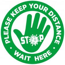 Covid-19 Sticker - HAND Please wait here  300mm Diameter