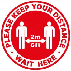 Covid-19 Sticker - Please wait here  300mm Diameter