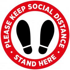 Covid-19 Sticker - Please stand here  300mm Diameter