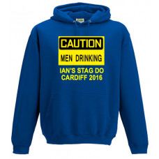 Caution Men Drinking - Printed Stag Do Hoodie
